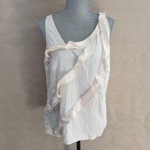 Ann Taylor L Cream Sleeveless Silk Stretch Tank